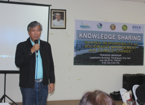 "Mr. Eli Ildefonso, Chief Environmental Management Specialist and Head Executive Assistant of the Environmental Management Bureau, tackles the ""Role of Local Government Units in Solid Waste Management"" in his lecture"