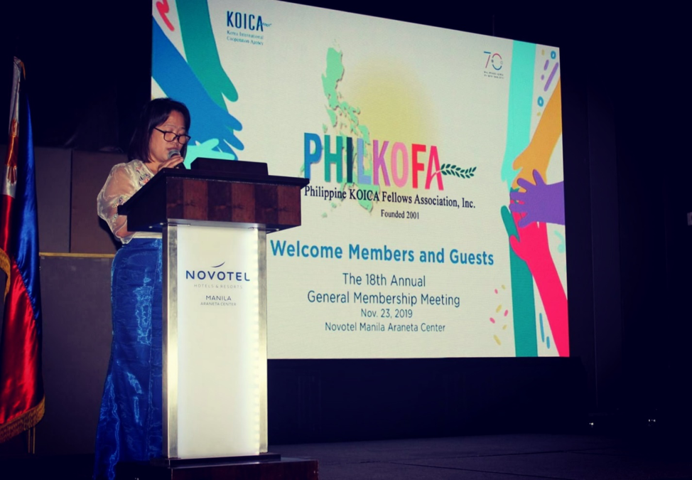 Pres. Borinaga gives her message during the 18th Annual General Membership Meeting