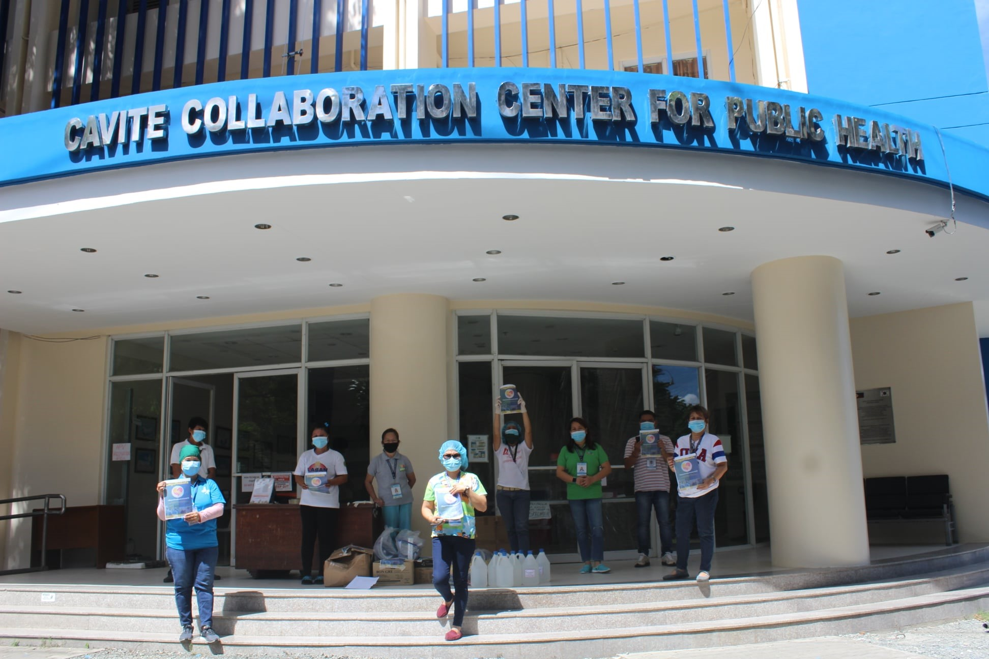 Frontliners of Provincial Health Office – Trece Martirez receives the medical and sanitation supplies at the Cavite Collaboration Center for Public Health